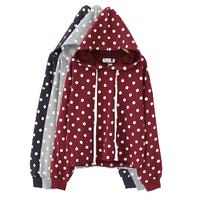 HOT! 3 Colors Girls Korean Preppy Style Polka Dot Print Long Sleeve Loose All Match Casual Hooded Sweatshirts Y-1113