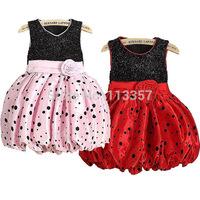Dress 2-7Y Kid Girls Flower Polka Dot Bubble Party Wedding Princess Dress Summer Free shipping