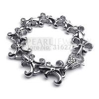 Free Shipping! Fleur De Lis Stainless Steel Bracelet Heavy MEB130