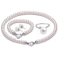 New Natural pearl Jewelry sets(Pearl necklace+bracelet+earrings+ring)Handmade genuine pearl 925 silver  Women's Gift