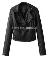 fw BLACK rivet PU LADIES leather short jacket free shipping