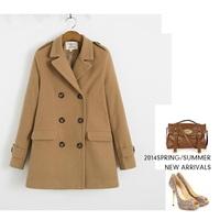 Double breasted Medium long woolen coat 2014 NEW wool coat women jacket autumn overcoat Woollen coat loose women's winter coat