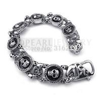 Free Shipping! Men Stainless Steel Bracelet Gothic Skulls Vintage MEB128