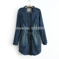 2014 Women's High Quality Denim Cotton Parka Big Pockets Draw String Waist Cowboy Cotton-Padded Coat  CC 35