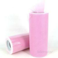 "Free Shipping 6"" 25 Yard 75 Ft Pink Wedding Tulle Roll Spool Tutu Party Gift Craft Bow Wrap Birthday Wedding Decoration"