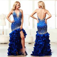 Royal Blue Deep V-neck Long vestido de festa com tule Sexy longo party Prom evening elegant long 2015 Luxury crystal New arrival