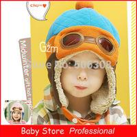 2014 Winter Autumn Pilot Plus Velvet Child Knitting Hats Baby Earflap Children Boys Flight Caps Wholesale