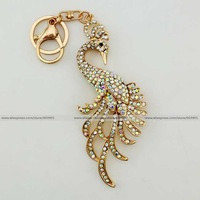 Fashion clear peacock bird rhinestone crystal Keychain Alloy Key ring Bag purse package car Charm jewelry accessories pendant