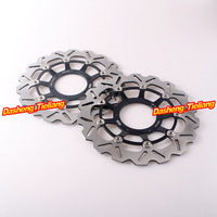 Left & Right Front Brake Disc Rotors For Honda 2003-2013 CBR 600 RR & 2004 2005 CBR1000RR Stainless SteelBlack