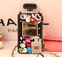 Luxury Bling Diamond DIY 3D Rhinestone Chain Perfume Bottle Case Cover for Iphone 5 5S,Diamond Case For iphone 5 5G 5S