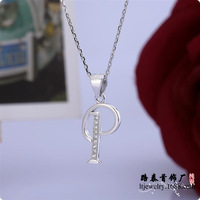 BLAL016 Micro pave setting Zircon silver Letter P pendants necklaces chains silver Jewelry,  free shipping