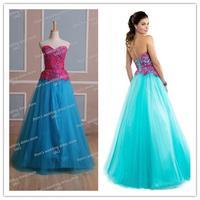 tulle lace real picture sample appliques important party dress vestido de noiva longo real Quinceanera Dress 2014 NK-902