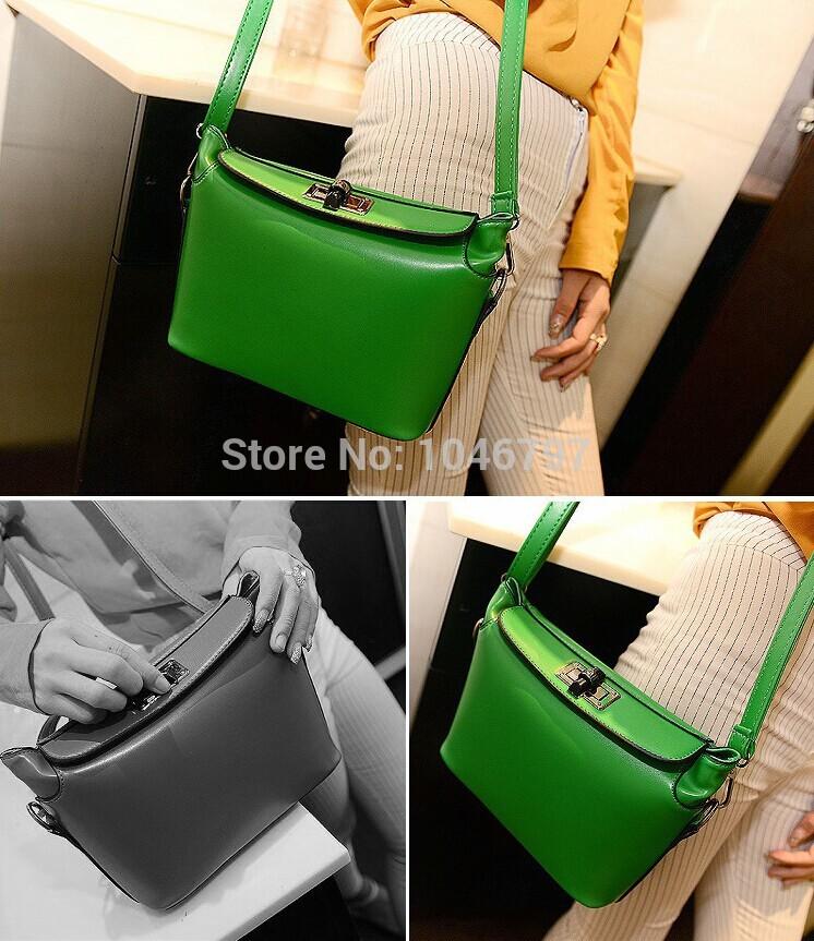 2014 women handbag PU leather bag Printing candy color Messenger bag Korea fashion style shoulder bag wholesale(China (Mainland))
