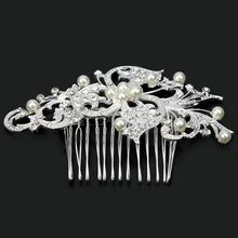 Women Wedding Bridal Flower Crystal Rhinestone Faux Pearls Bead Hair Comb New