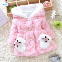 4pc/lot girls fur coat for baby jackets hooded kids outerwear velvet children clothes wholesale PANYA DYF44