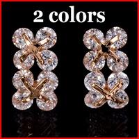 2 Colors Fashion AAA Swiss CZ Stud Earrings Cubic Zirconia Lucky Clover Stud Earrings - SKBTQ