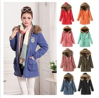 2014 new winter coat jacket  women's hooded cotton padded outerwear thick plus size free shipping