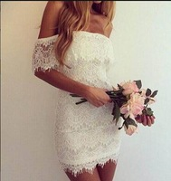 Explosion models in Europe and America sexy  fitted low-cut white lace dress
