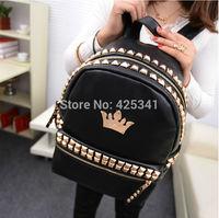New Fashion Women Korean Rivet Style Girl's PU Leather Backpack Student handbags Black