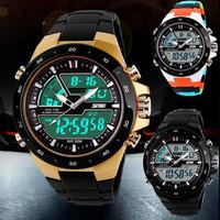 5PCS/LOT SKMEI Men Sports Watches Fashion Casual Quartz Wrist Watch Clock Male LED Digital Waterproof Military Wristwatches
