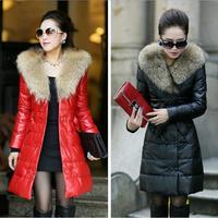 2014 New Fashion women winter coat Long Style Large fur collar Double-breasted Slim Thicken Warm Bow belt women winter jacket