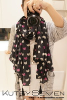 Black and pink chiffon cute little kitty long section of large scarf shawl scarf air conditioning,winter scarf ---JOLINA SHOP