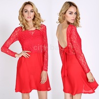 New Women's Autumn Lace Dresses Ladies Long Sleeve Backless Bowknot Cocktail Party Mini Dress Red