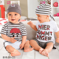 SH040 New 2014 free shipping Retail 1 set Top Quality baby clothing set casual boy hat+tops+shorts kid 3pc suit 2 style in stock