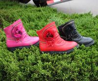 High Quality Free Shipping Girl's Winter Fashion Boots Female Child Medium-leg Full Genuine Leather Plush shoes