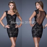 Unique Design Sheath Cap Sleeve Sexy Sheer Back Black Short Mini Party Dress Lace Evening Dress Tight Homecoming Dresses