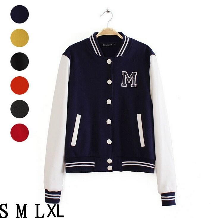 Top Baseball Jacket Women New 2014 Letter Sweater Coat Hoodies Sweatshirt Autumn Casual Long Sleeve Sport Uniform Free Shipping(China (Mainland))