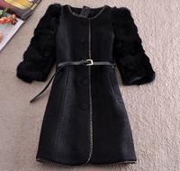 Winter Woollen Coat Jacket Women 2014 Outerwear Genuine Rabbit Fur Sleeve Patchwork Vintage Thick Black Coat Parka Overcoat