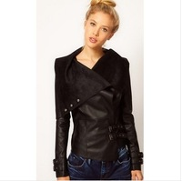 2014 New Arrival Women Big Turn Down Collar PU Leather Slim Jacket Spring Long Sleeve Moto Black Leather Outerwear