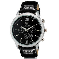 Valia Men's Fashionable Analog Large Dial Water Resistant Wrist Watch with Calendar Function Faux Leather Band -5
