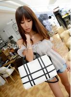 OL joker panelled  women summer leisure fashion zipper handbags interior zipper pocket cell phone pocket free shipping