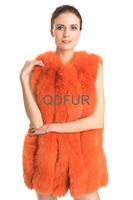 2014 Natural Whole-hide Fox Fur Vest Waistcoat with Leather Patchwork Winter Women Fur Gilet Outerwear Coats QD70719