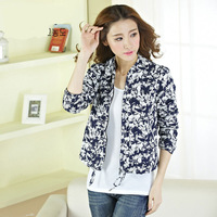 Flower Printed Short Jackets Fashion Cotton Blend Women's Jacket Lady Coat Overcoats Outerwear Clothes Tops Support Dropship