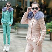 New 2014 Women's Eiderdown Cotton Suit Warm Fur Collar Jacket With Cotton Trousers Women Winter Jackets Women Pants Winter Pants