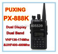 free shipping PUXING walkie talkie PX-888K dual band dual display VHF136-174&UHF400-480Mhz two way radio PX888K
