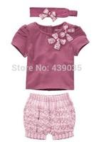 SH041 summer dress 2014 Hot Selling Baby Girls Clothing Set 3pcs:headband+shirt+pant Purple Princess Summer Clothes Three Pieces