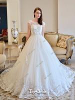 Luxury High Collar 100CM Train Lace Wedding Dress S318