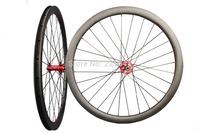 Fat Aero Clincher Carbon Wheelset 40mm D-Brakes 28H/28H Thru Axle Hub 700C Cyclocross/Road Wheels