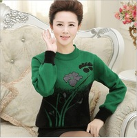 2014 Women Spring Winter Middle-age Female Elegant Mother Print Thick Cashmere Sweater Pullover big size M L XL XXL XXXL