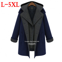 2014 new European and American  large size women Hooded long section Thick warm wool coat