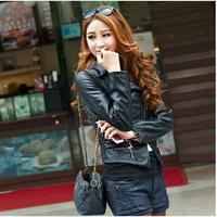 2014 Autumn winter women basic PU Jackets coat decorative rivets Slim punk chic minimalist faux leather double lapel Blazer