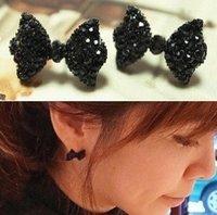 2014 Hot sales Fashion Korea Vintage Elegant charm Metal black butterfly bow Stud Earrings jewelry for women 2014 Wholesale PT31