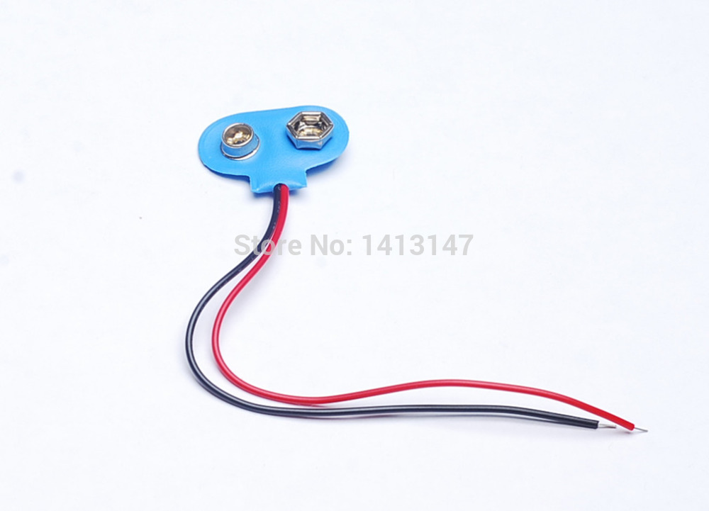 50pcs 9CM 9V Battery Snap-on Connector Clip With Wire Holder Cable Leads Cord(China (Mainland))