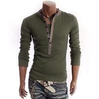 Promotion Men spring autumn fashion slim V-callor Faux 2pcs long Sleeve t Shirt/free shipping Hot sale high quality