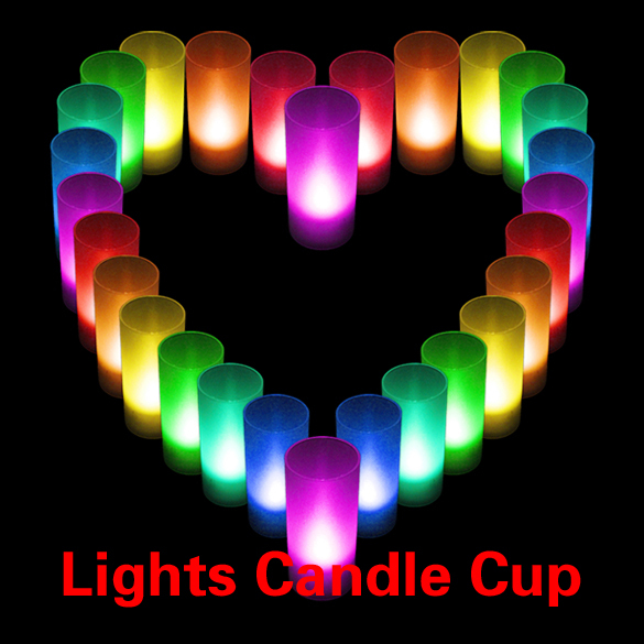 Romantic LED Candle Color Changing Wedding Party Xmas Decor light Flameless Lights Cup MFBS(China (Mainland))