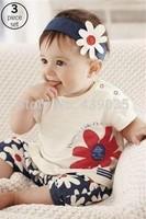 SH042 New 2014 Baby Girls Kids T Shirt Headband Top Pants Shorts Flower 3pcs Outfit Clothes